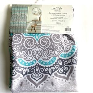 InStyle Home Bath - NWOT InStyle Home Teal Geometric Shower Curtain